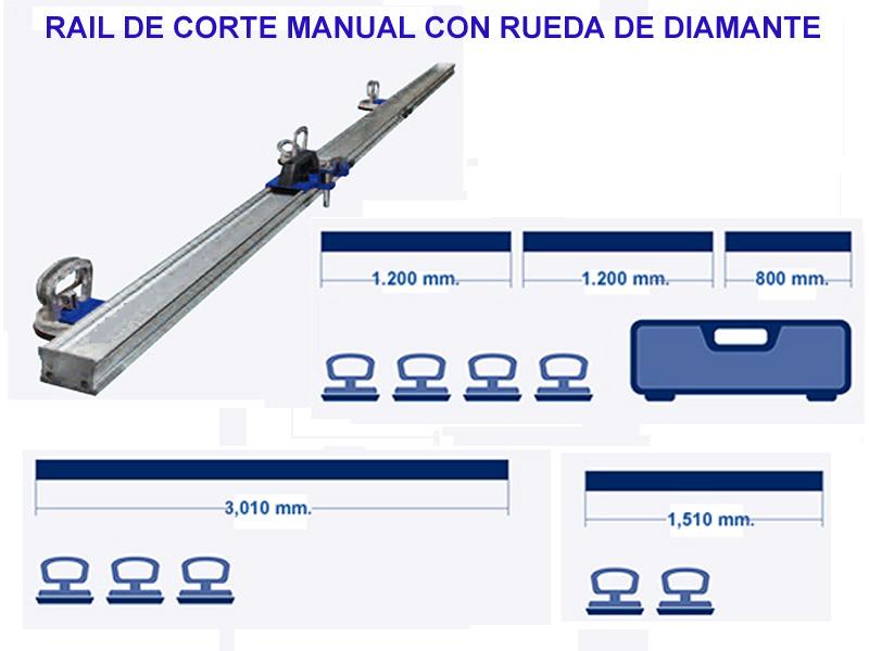 RAIL DE CORTE CON RUEDA DE DIAMANTE
