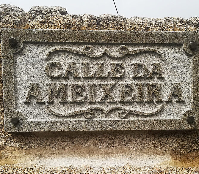 Placa de calle Grabada por chorro en piedra país
